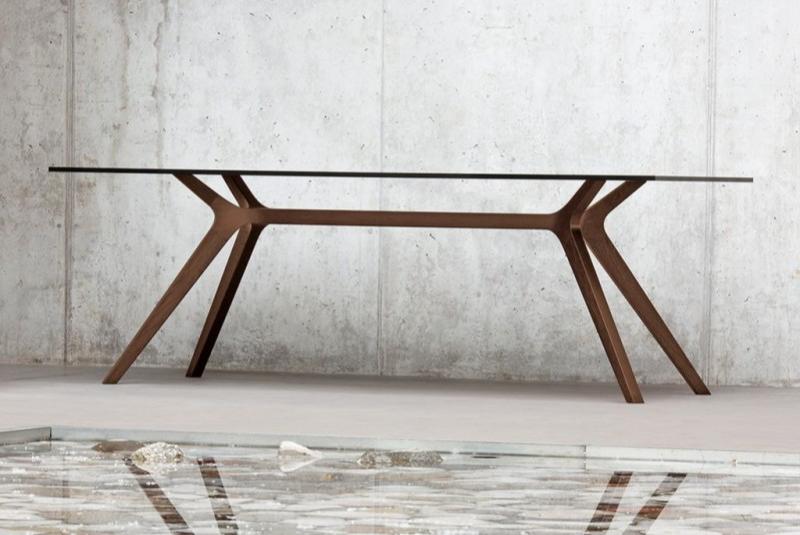 Schreibtisch mit Holzgestell, Designholztisch, handgearbeitetes Holzgestell, Designschreibtisch, Designbüromöbel, Design-Schreibtisch
