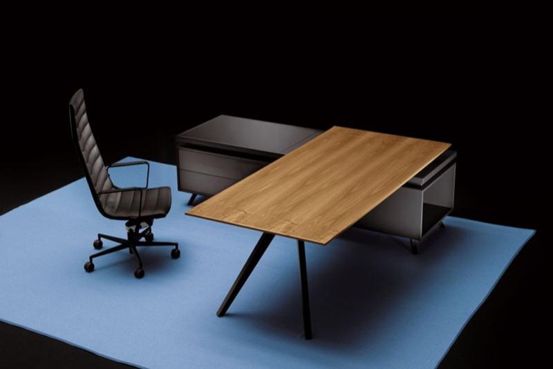 Holz-Designschreibtisch, schöner Chefschreibtisch, Manager-Arbeitsplatz, Frezza Chefzimmer, Chefbüro, Chefschreibtisch