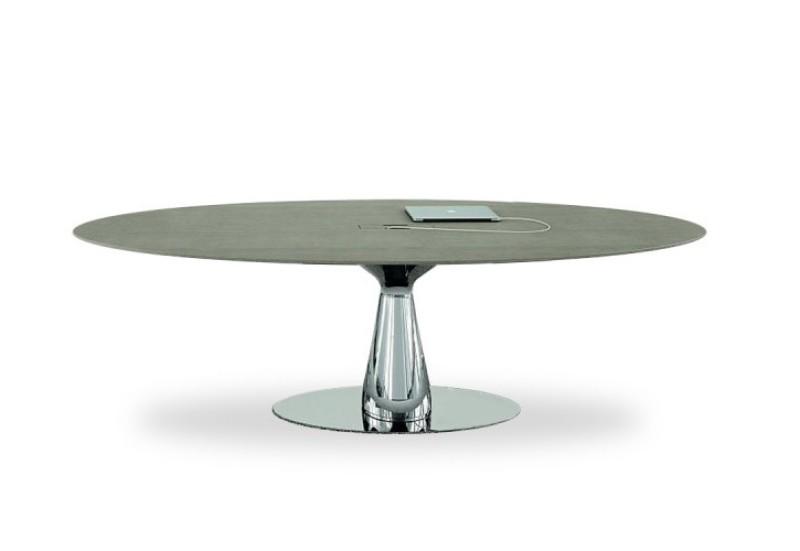 Konferenztisch Chromgestell, Design Konferenztisch, Eleganter Besuchertisch, edler Besprechungstisch, Besprechungstisch Marmorplatte