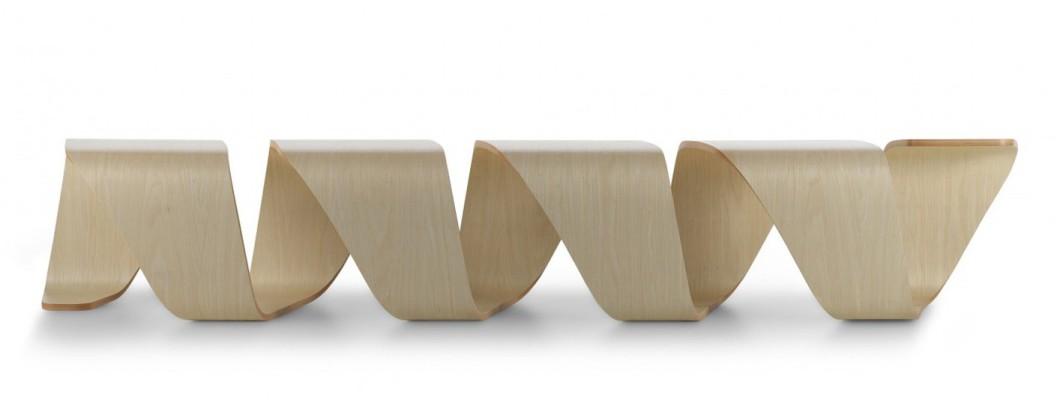 Design Holzbank, Formholzbank, Holz Wartebank, Design Sitzbank, Design Wartemöbel