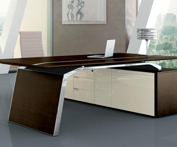 Designschreibtisch, Echtholzfurnier Schreibtisch, Bralco Metar, Design Schreibtisch